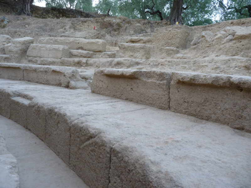 View of five tiers of seats with large part of them in situ.